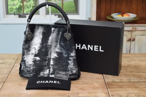 Chanel Tote in Black & Silver