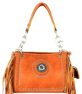 Montana West Fringe Embellished Satchel in Brown