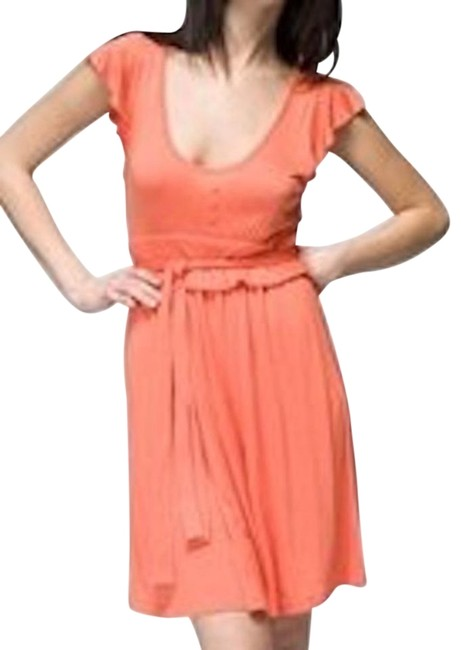 Preload https://img-static.tradesy.com/item/18988486/orange-tulle-anthropologie-tie-waist-flutter-sleeve-shirred-above-knee-night-out-dress-size-8-m-0-1-650-650.jpg
