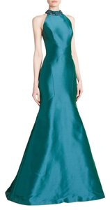 Theia Halter Jeweled Gown High Neck Dress