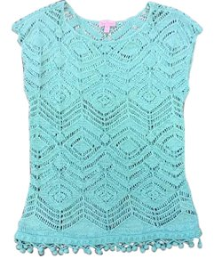 Lilly Pulitzer Crochet Knit Cotton/nylon Color Intricate Design Tunic