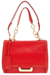 Diane von Furstenberg Leather Gold Satchel in Red