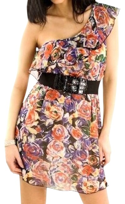 Preload https://img-static.tradesy.com/item/18988786/multicolor-one-shoulder-floral-belted-ruffle-above-knee-night-out-dress-size-12-l-0-1-650-650.jpg