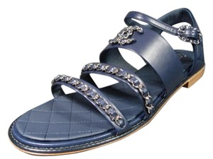 Chanel New 3 Straps Navy Blue Sandals