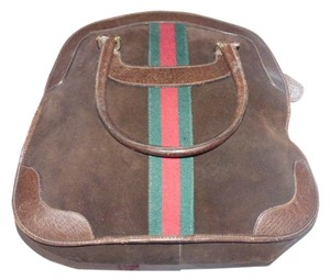 Gucci Early Suede And Leather Satchel in brown with red & green center stripe
