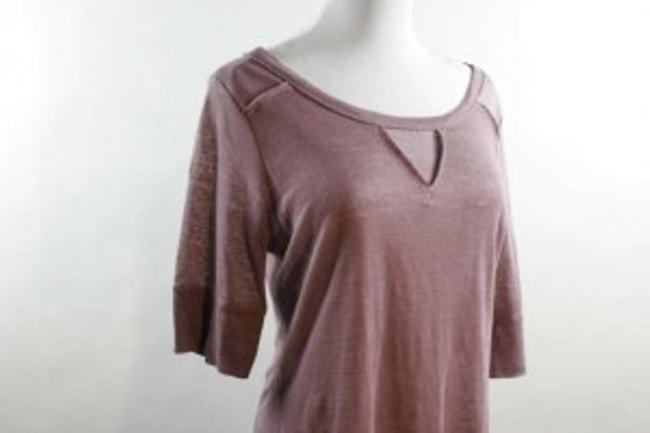 Banana Republic Muave T-shirt Outer Stitching Medium Linen Silk Jewel Neckline Patchwork Triangle Rose Womens Shirt Top Mauve
