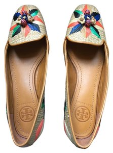 Tory Burch Woven Loafer Straw Tan and multicolor Flats