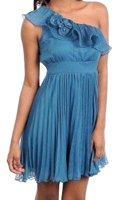 Preload https://item5.tradesy.com/images/blue-one-shoulder-rosette-accordian-pleat-above-knee-cocktail-dress-size-4-s-18989044-0-1.jpg?width=400&height=650