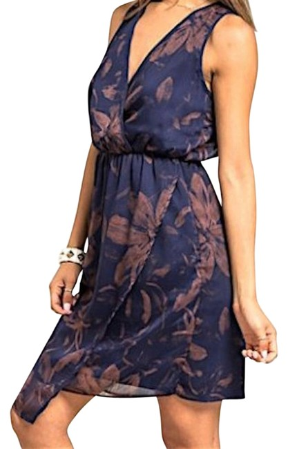 Preload https://item2.tradesy.com/images/blue-tan-last-one-in-stock-sleeveless-floral-print-wrap-above-knee-night-out-dress-size-12-l-18989356-0-1.jpg?width=400&height=650