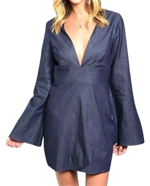 Preload https://item1.tradesy.com/images/blue-denim-bell-sleeve-plunge-above-knee-night-out-dress-size-4-s-18989695-0-1.jpg?width=400&height=650