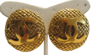 Chanel Chanel Vintage 1992 Weave Gold-tone Earrings with