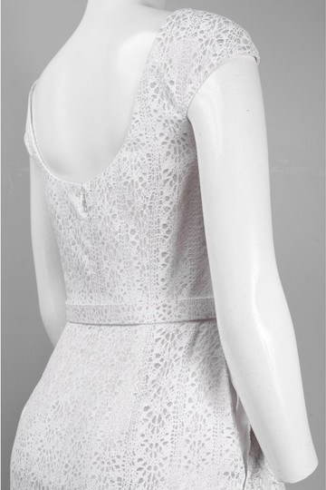 Theia White Cap Sleeve Jacquard Fit & Flare Casual Wedding Dress Size 6 (S)