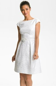 Theia Cap Sleeve Jacquard Fit & Flare Wedding Dress