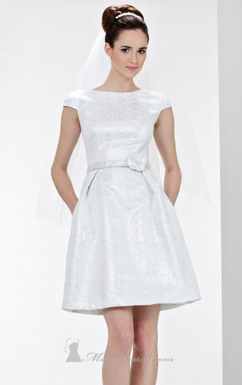 Theia White Cap Sleeve Jacquard Fit & Flare Casual Wedding Dress Size 14 (L)