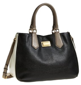 Marc by Marc Jacobs Color Large Pebbled Leather Satchel in Black Multi / Gold