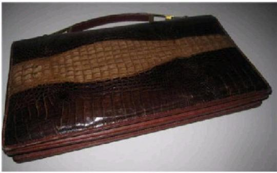 VENUS Mint Vintage Two-way Style Clutch/Shoulder Crocodile/Alligator Made In Italy shades of brown Clutch