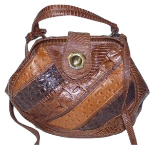 Other Mint Vintage Two-way Style Hexagon Shape Crocodile/Alligator Ostrich Patchwork shades of brown Clutch