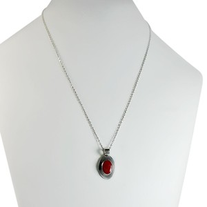 Other Sterling Carnelian Oval Pendant Necklace