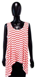 Yala High Low Scoop Neck Chevron Striped Top Red