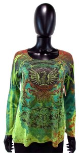 Bleulab Graphic Jeweled Bird Knit T Shirt Green