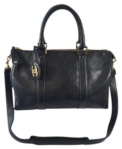 Chanel Boston Lamb Skin Satchel in Black