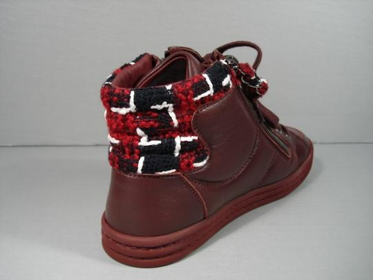 Chanel New 35.5/5 Trainers Burgundy Navy White Athletic
