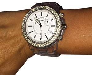 Fossil Fossil CH2688 Clear Band White Face Double Crystal BLING Bezel NWT