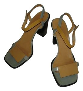 Herms LIGHT BLUE & TAN Sandals