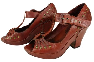 Frye Granny Studs Leather Red Pumps