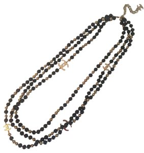 Chanel Black Gold Sky Mirror SS16 Triple Strand Pearl
