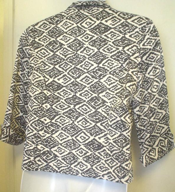 dressbarn Black / White Abstract Dressy Jacket Top Multi-Color