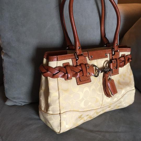 Coach Monogram Signature Hampton Sale Satchel in Brown Yellow