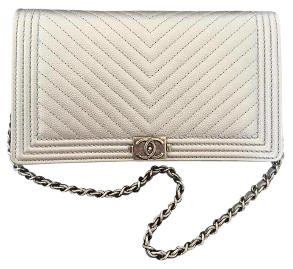 79568c2e10ae Chanel Boy Wallet on Chevron Le Woc Metallic Silver Caviar Clutch ...