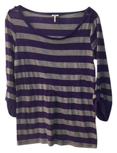 Splendid T Shirt Grey and purple stripe