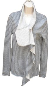 Free People Raw Edge French Cotton Asymmetrical Sweatshirt Striped Gray Jacket