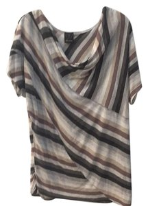 Ella Moss T Shirt Black, grey, tan, brown and white striped