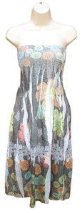 Anthropologie short dress Gray Multi Convertible Floral Smocked on Tradesy
