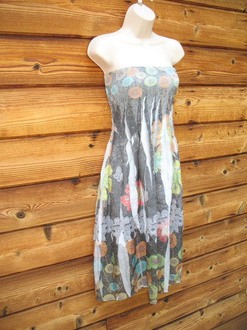 Anthropologie short dress Gray Multi Convertible Floral Sundress Smocked on Tradesy