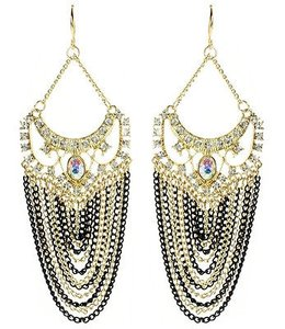 Amrita Singh Amrita Singh Gold Crystal Elizabeth Steet Black Chain Earrings Erc 2027