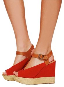 Free People Platform Suede Rose Wedges