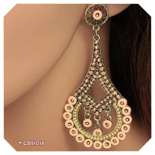 Other New Nude Enamel Austrian Crystal Chandelier Style Earring 3.5