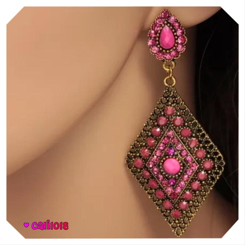 Other New Pink Enamel Austrian Crystal Chandelier Style Earring 3