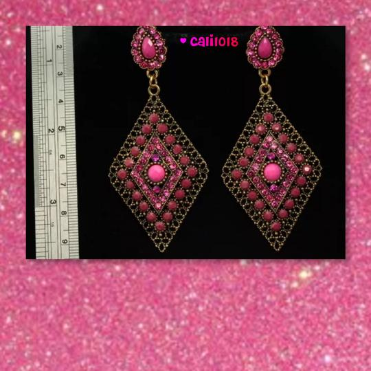 Other New Pink Enamel Austrian Crystal Chandelier Style Earring 3.3