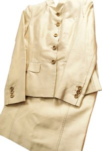 Blumarine Chantung Cream Silk Skirt Suit
