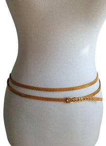 Cynthia Rowley Gold Metal Mesh Double Skinny Belt
