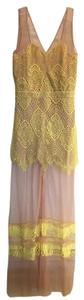 Yellow Maxi Dress by Antigua Yellow Lace and Mesh Maxi Dress Mermaid Flowy