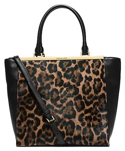 Michael Kors Lana Calfskin Leather Patent Leather Large New Tote in Leopard print / Black