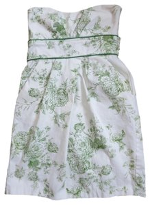 short dress White / Green Strapless Empire Waist Floral on Tradesy