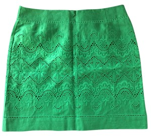 Bill Burns Signature Eyelet Mini Linen Skirt green