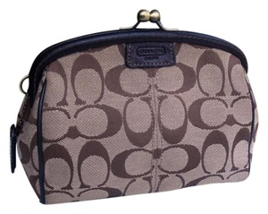 Coach Legacy Stripe Kisslock Framed Cosmetic khaki Clutch